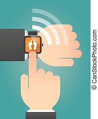 Hand pointing a smart watch with two footprints