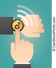 Hand pointing a smart watch with two gears