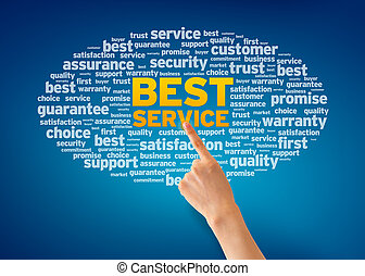Hand pointing at a Best Service word cloud on blue background.