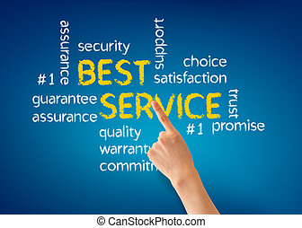 Hand pointing at a Best Service word illustration on blue background.