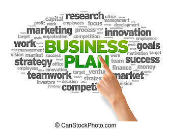 Business Plan - Hand pointing at a Business Plan Word Cloud...