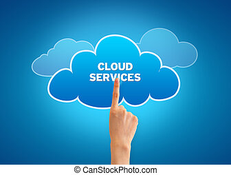 Cloud Services - Hand pointing at a Cloud Services Cloud.