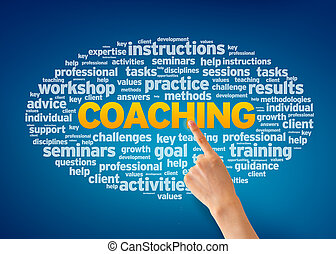 Coaching - Hand pointing at a Coaching Word Cloud on blue...