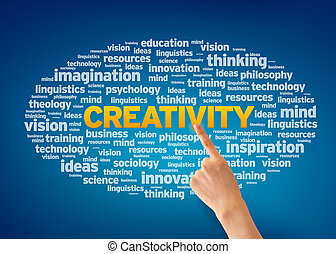 Hand pointing at a Creativity Word Cloud on blue background.