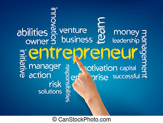 Entrepreneur - Hand pointing at a Entrepreneur word...