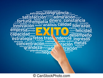 Hand pointing at a Exito illustration on blue background.