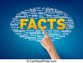Facts - Hand pointing at a Facts Word Cloud on blue...