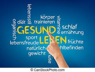 Gesund Leben - Hand pointing at a Gesund Leben word...