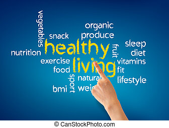 Healthy Living - Hand pointing at a Healthy Living...