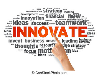 Hand pointing at a Innovate Word illustration on white background.