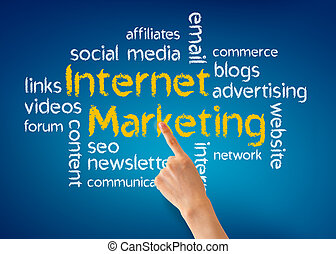 Internet Marketing - Hand pointing at a Internet Marketing...