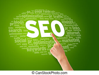 Search Engine Optimization - Hand pointing at a Search...