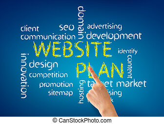 Hand pointing at a Website Plan word illustration on blue background.