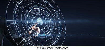 Hand pointing at bright glowing fingerprint ID interface on dark background.