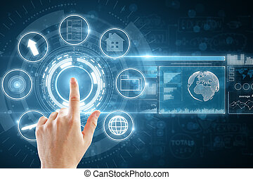 Hand pointing at business interface