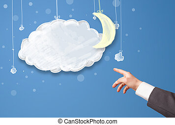 Hand pointing at cartoon night clouds with moon