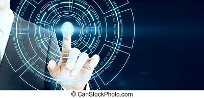 Hand pointing at creative glowing fingerprint ID interface on dark background.