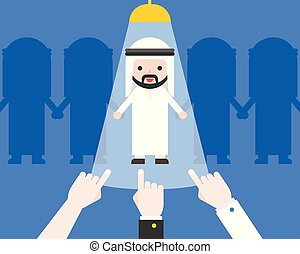 Hand pointing at Cute arab businessman, business situation recruitment candidate concept