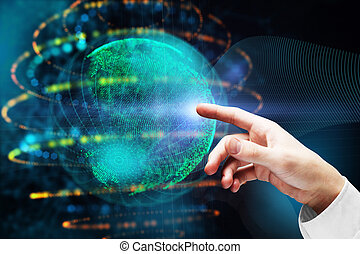 Hand pointing at digital globe with abstract polygonal sphere on blurry background. International business concept. 3D Rendering