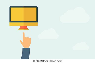 Hand pointing at monitor with blank screen.