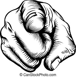 Hand pointing at viewer - Retro black woodcut print style ...