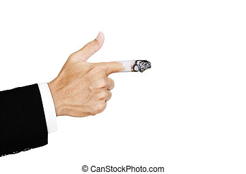 Hand pointing finger with burn out cigarette at finger,...