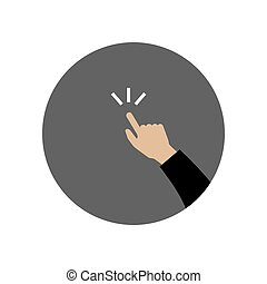 Hand pointing icon.