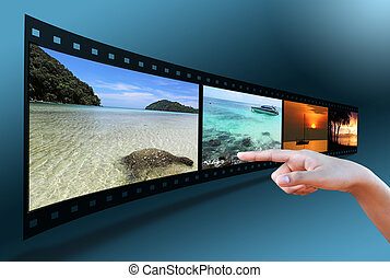 hand pointing image in 3D film strip
