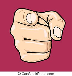 Hand pointing index finger at observer isolated