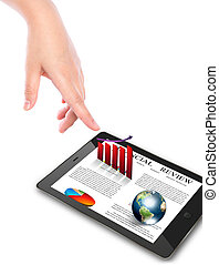 Hand pointing on touch screen device (Elements of this image furnished by NASA