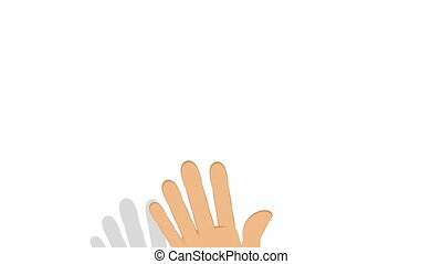 Hand pointing on white