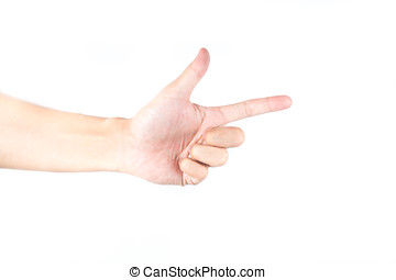 hand pointing on white isolated background