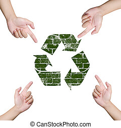Hand pointing Recycle sign. Save the world concept