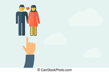 Hand pointing to a lover or couple