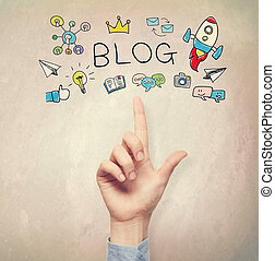 Hand pointing to Blog concept