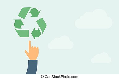 Hand pointing to recycling icon