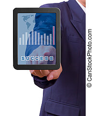 hand pointing to success word on touch pad