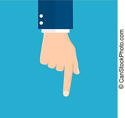hand pointing with index finger. Vector illustration in flat...