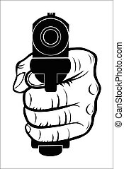 Hand pointing with the gun at you - Vector illustration :...