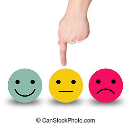 Hand points to a yellow smiley