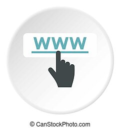Hand points to WWW icon, flat style