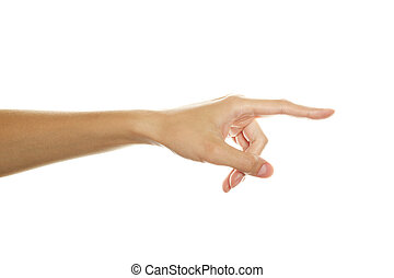 Hand points toward the girl