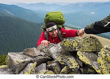 hand, portie, wandelaar, om te, klimmen, de, berg