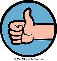 hand, positief, beduimelt omhoog, gebaar