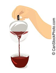 Hand pouring hibiscus tea from teapot into a cup. Tea ceremony