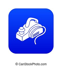 Hand power tool icon blue isolated on white background