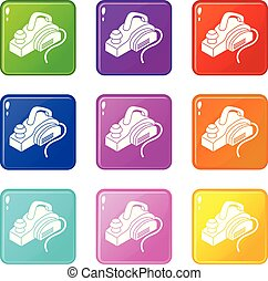 Hand power tool icons set 9 color collection