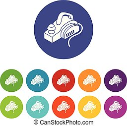Hand power tool icons set vector color