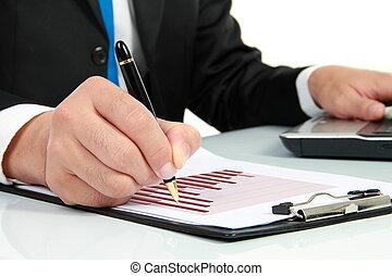 hand, prüfung, an, diagramm, auf, geschäftsbericht
