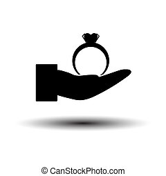 Hand Present Heart Ring Icon